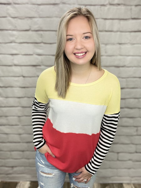 Coral & Yellow Color Block Top with Striped Long Sleeves