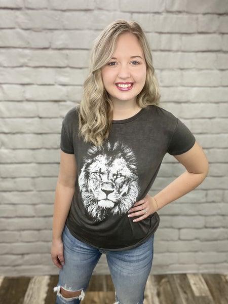 Black Lion Graphic Print Short Sleeve Top