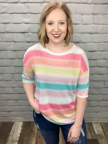 Spring Colorblock Short Sleeve Top