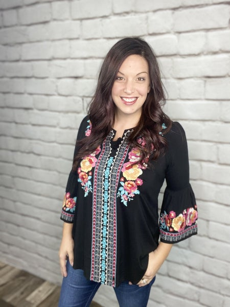 Black Embroidered Tunic Top with Keyhole