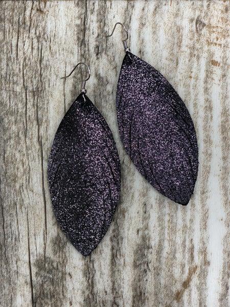 Dark Grey Sparkle Feather Leather Earrings