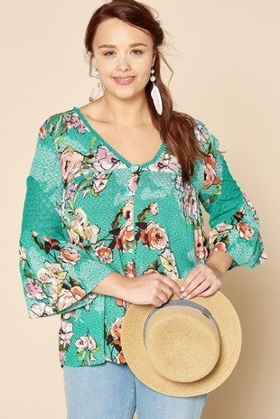 Floral Bell Sleeve Button Down Top