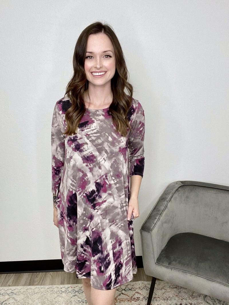 Purple Tie Dye 3/4 Sleeve Dress