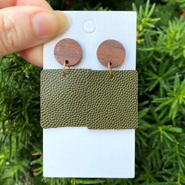 Olive Green Leather Block Earrings