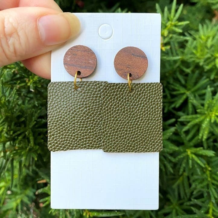 Olive Green Leather Block Earrings