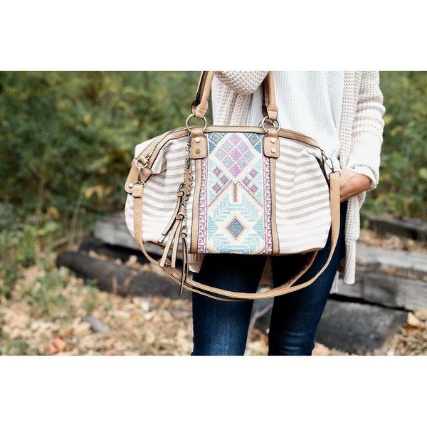 Tan Stripe Aztec Bag