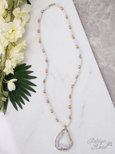 Glittering Geode Beaded Necklace with Stone Pendant, White