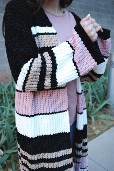 Chenille Knit Multi Stripe Cardigan