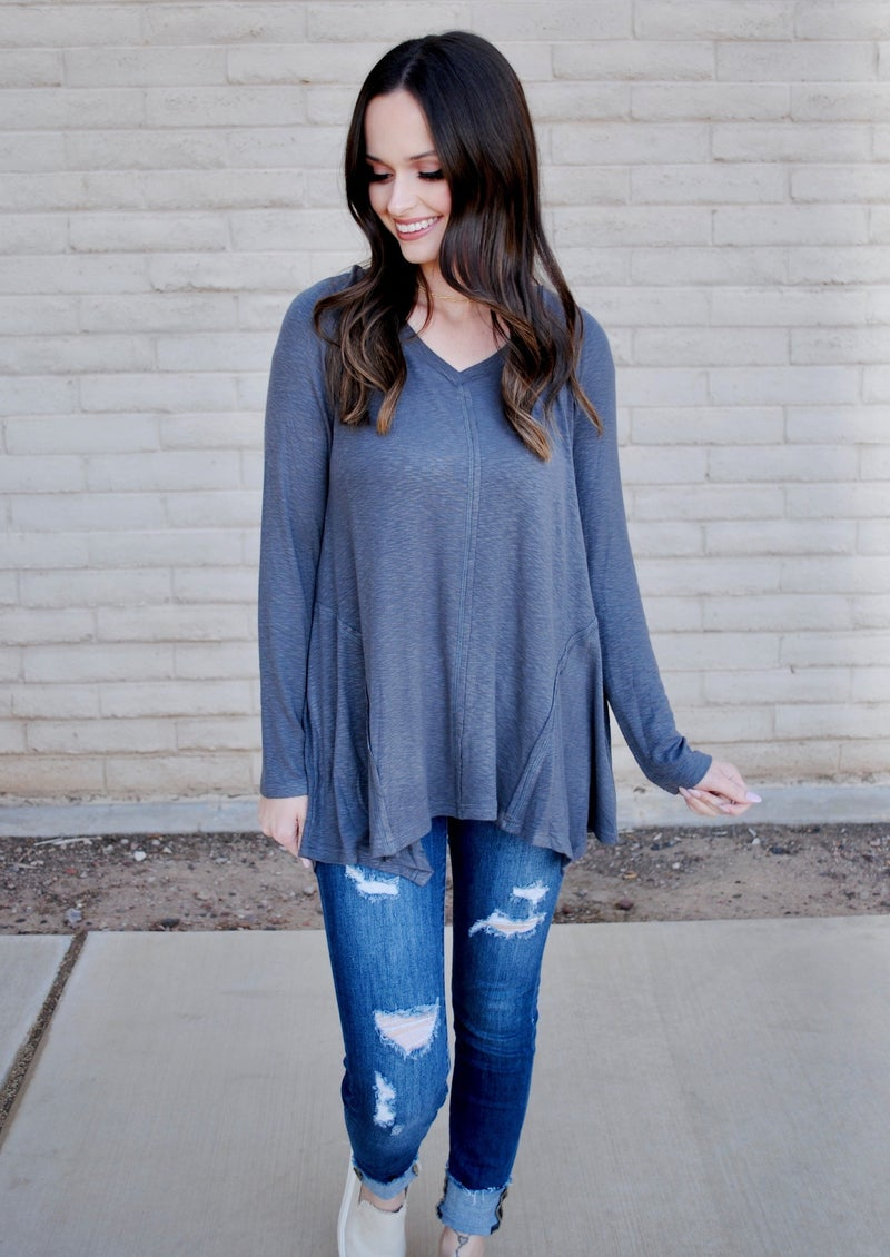 Charcoal Long Sleeve Ribbed Top