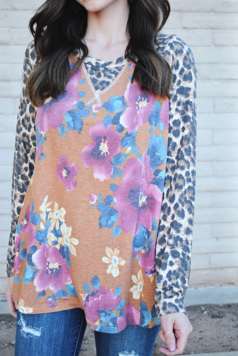 Mustard Floral Top w/Leopard Sleeves