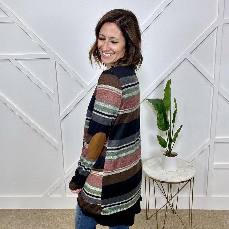 Striped Cardigan w/elbow patch