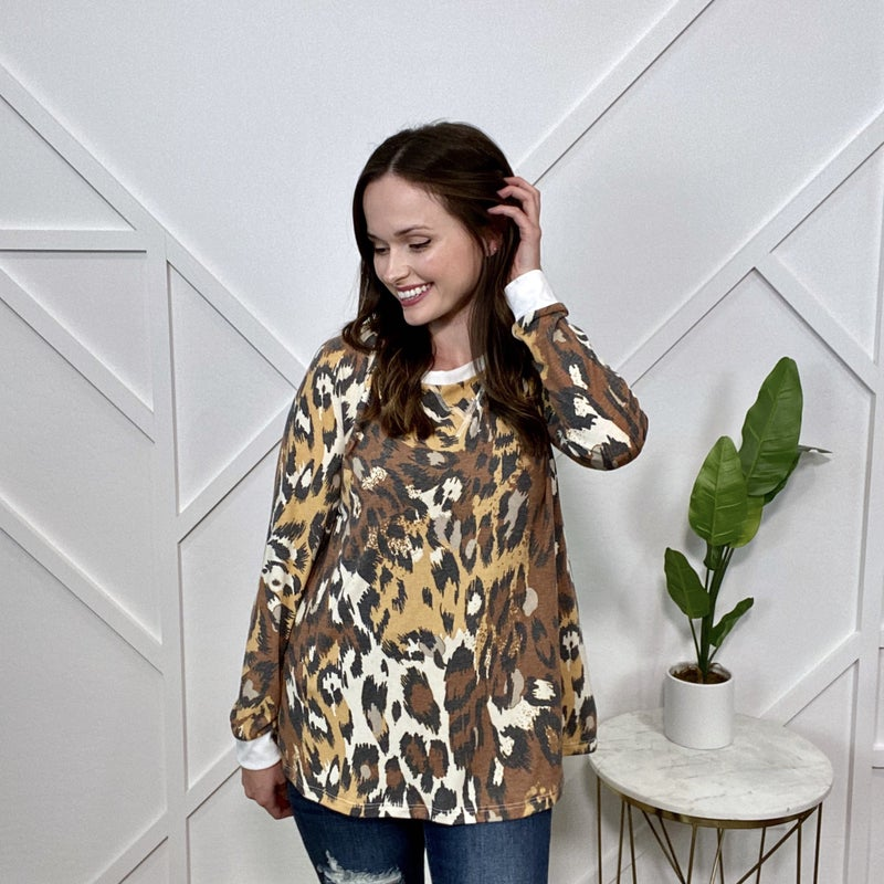 Brown Leopard Long Sleeve Top