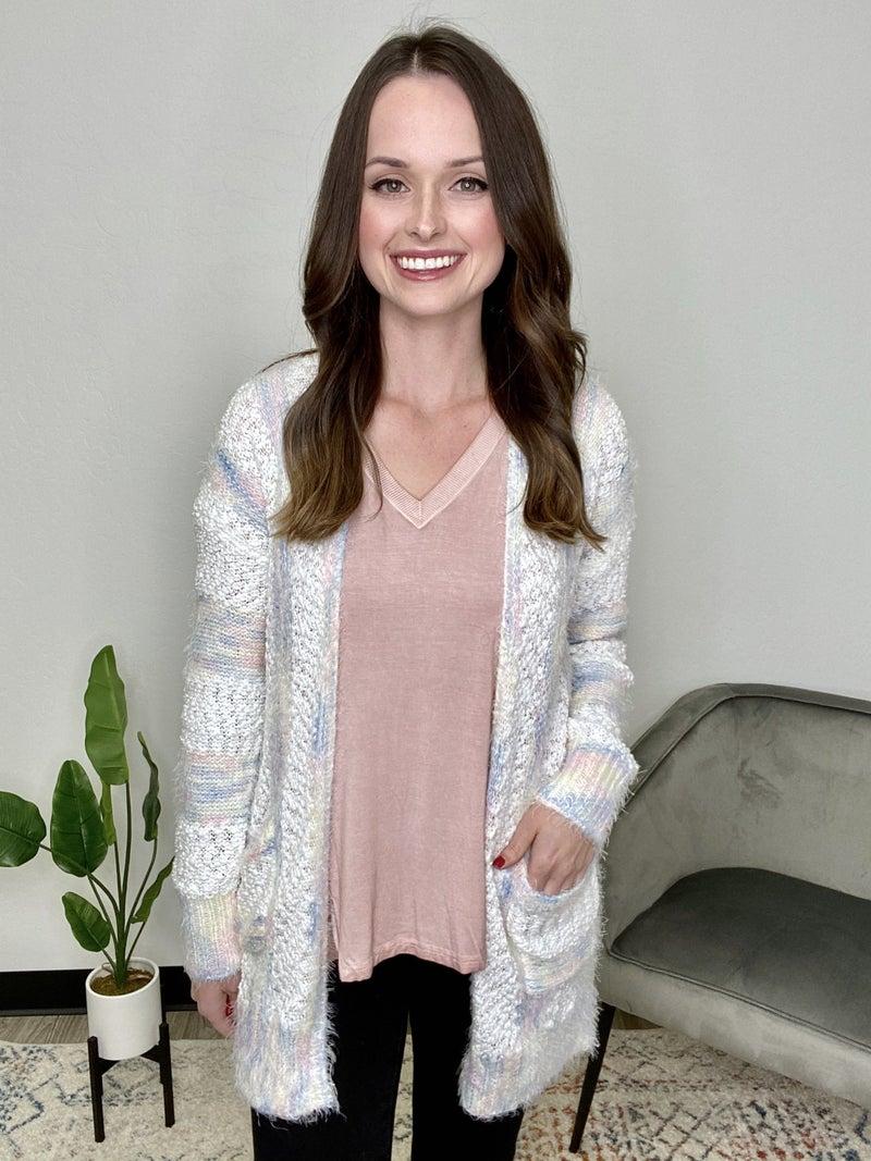 White/Blue Knit Striped Cardigan