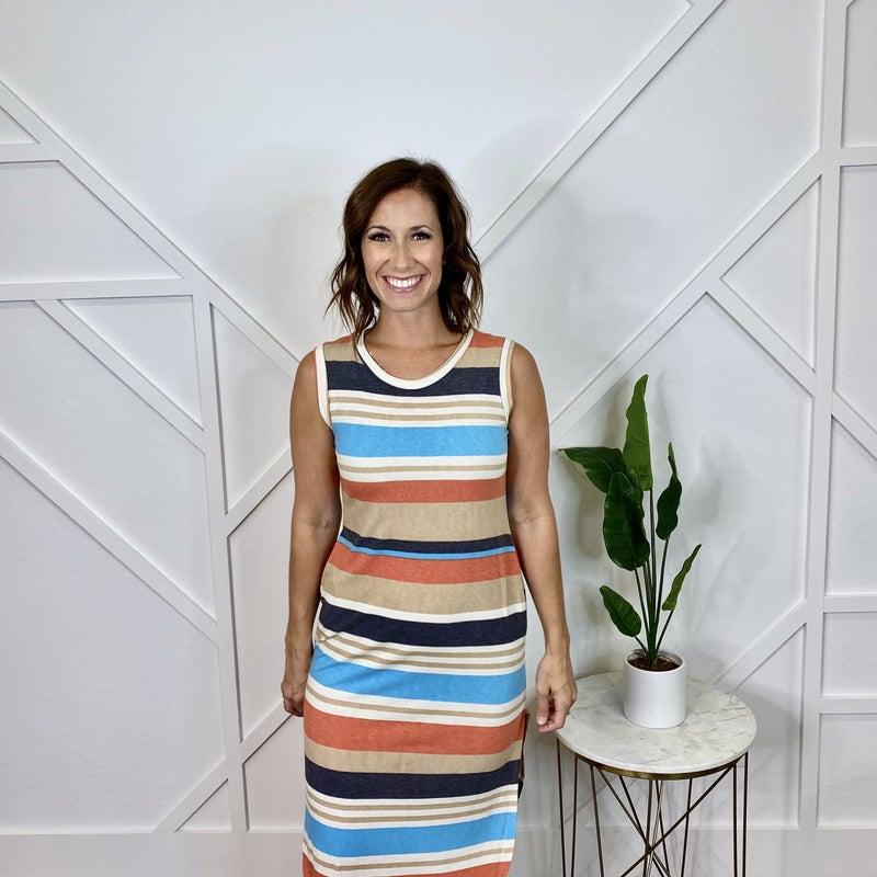 Multi Colored Striped Side Slit Pocket Dress
