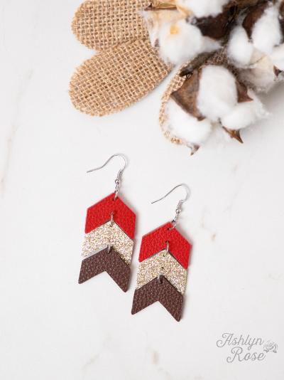 Go Your Own Way Arrow Earrings, Red and Gold