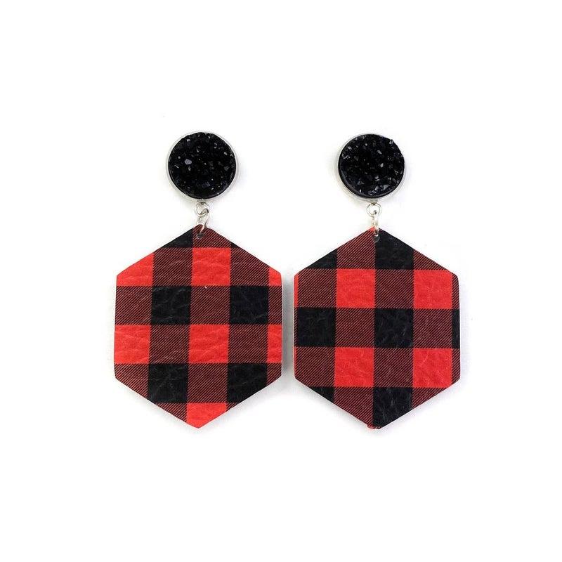 Plaid + Druzy Stud Earring