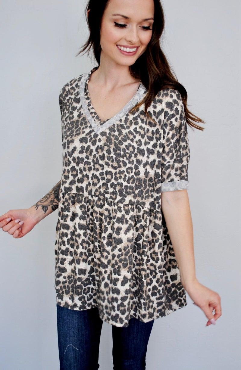 Leopard Babydoll V-Neck