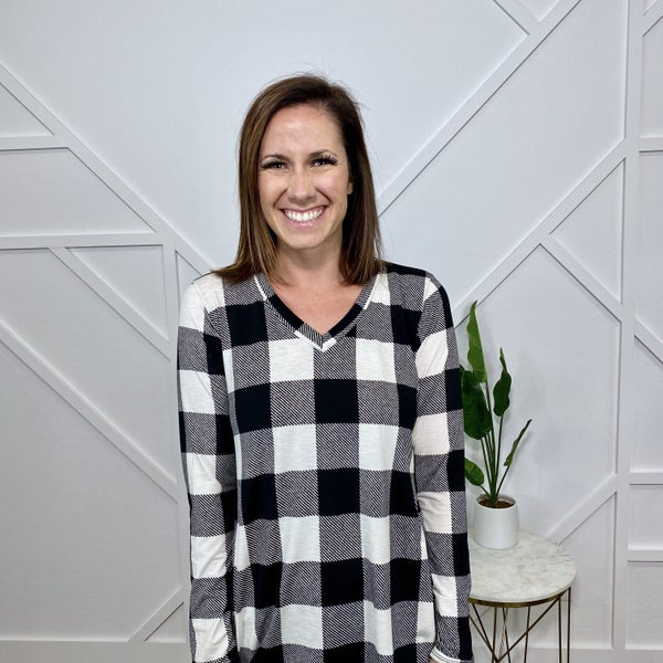 White Plaid Long Sleeve Top