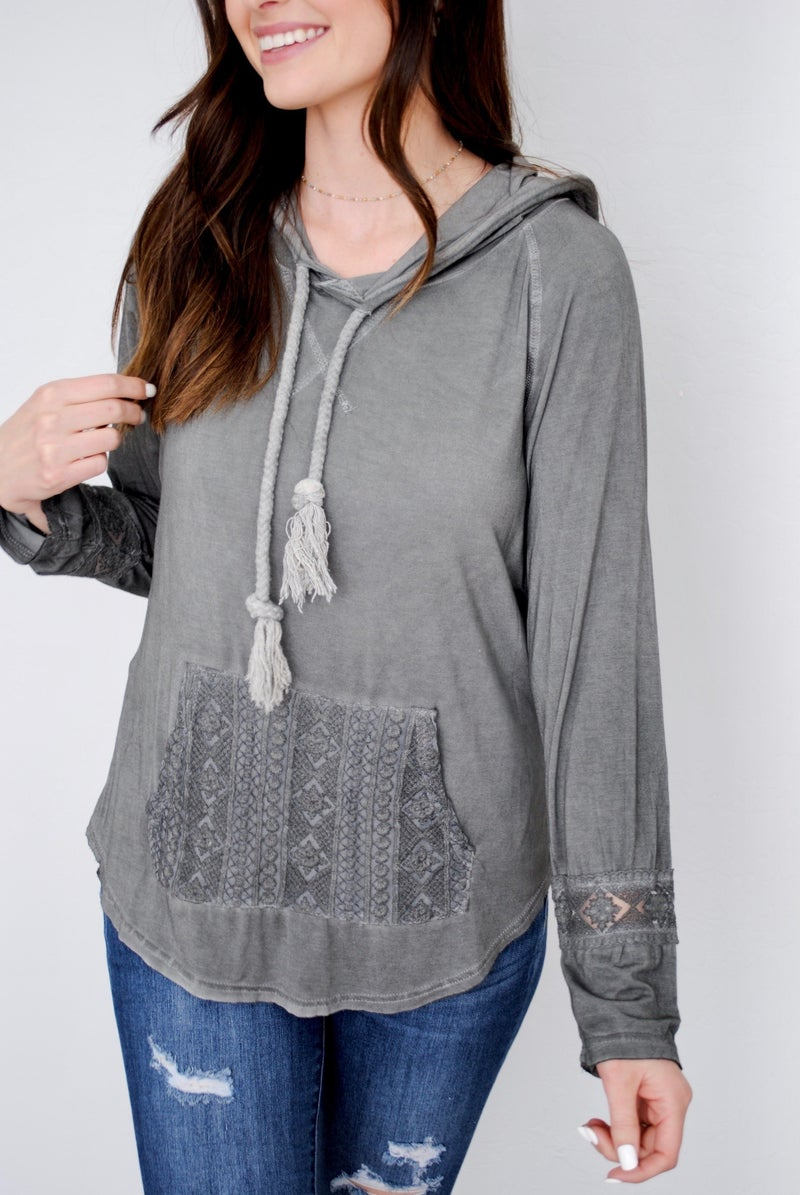 Charcoal Hoodie with Crochet Pocket