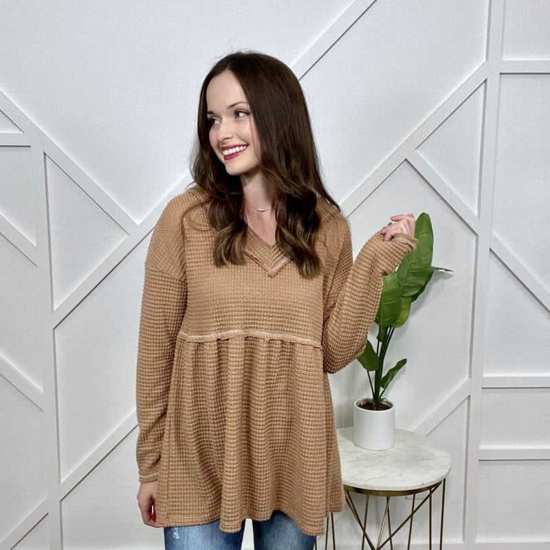 Waffle V-neck Sweater Top