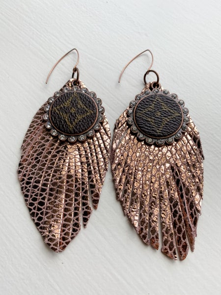 Upcycled Rosegold Feather Earring