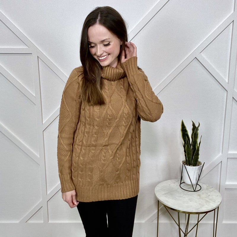 Carmel Cable Knit Turtle Neck Sweater