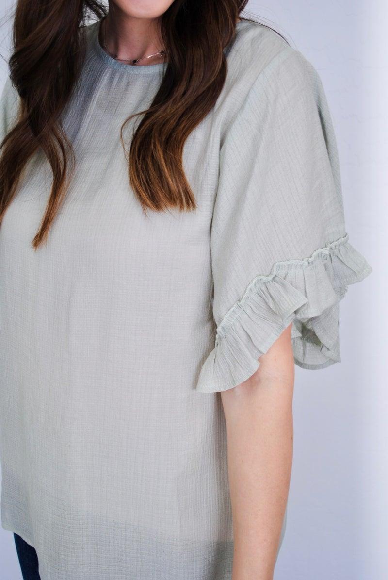 Sage Ruffle Wide Open Sleeve Blouse