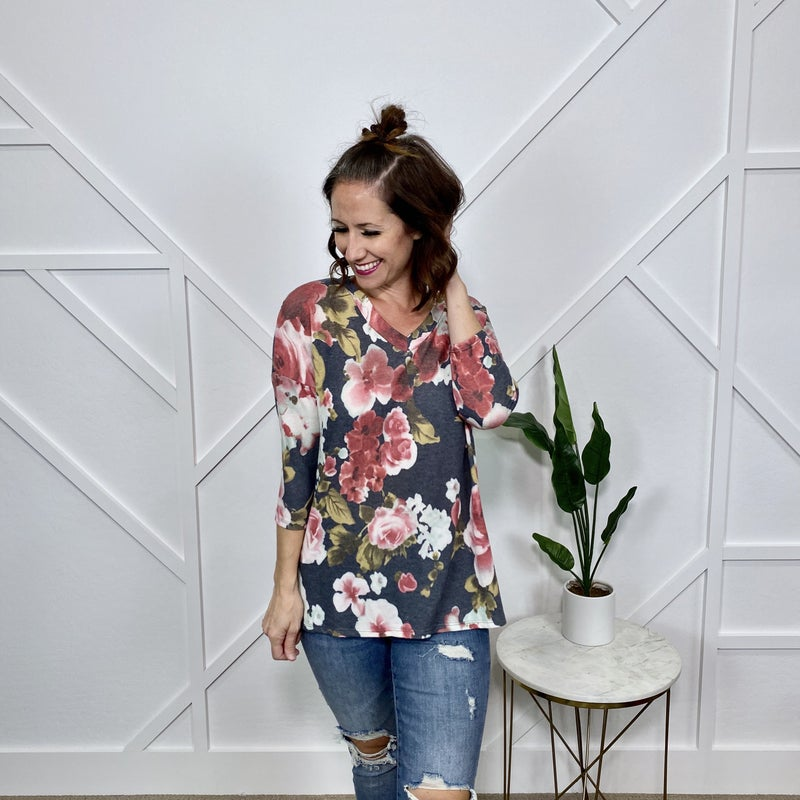 Navy/Red Floral Top