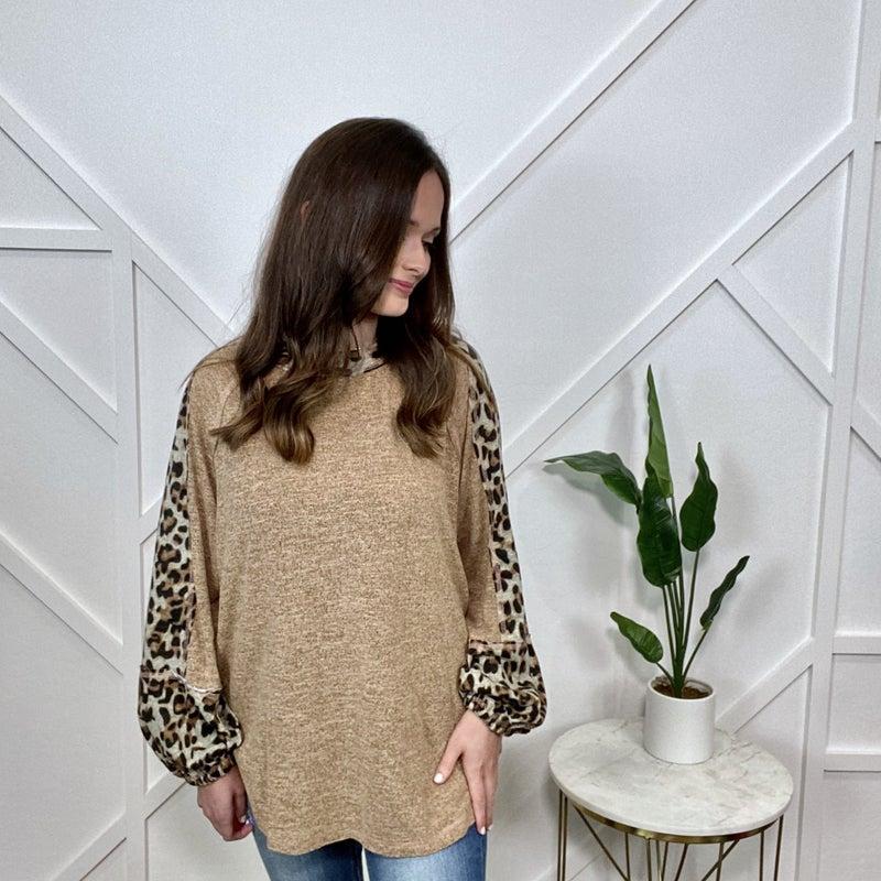 Mocha Long Sleeve with Leopard Detail