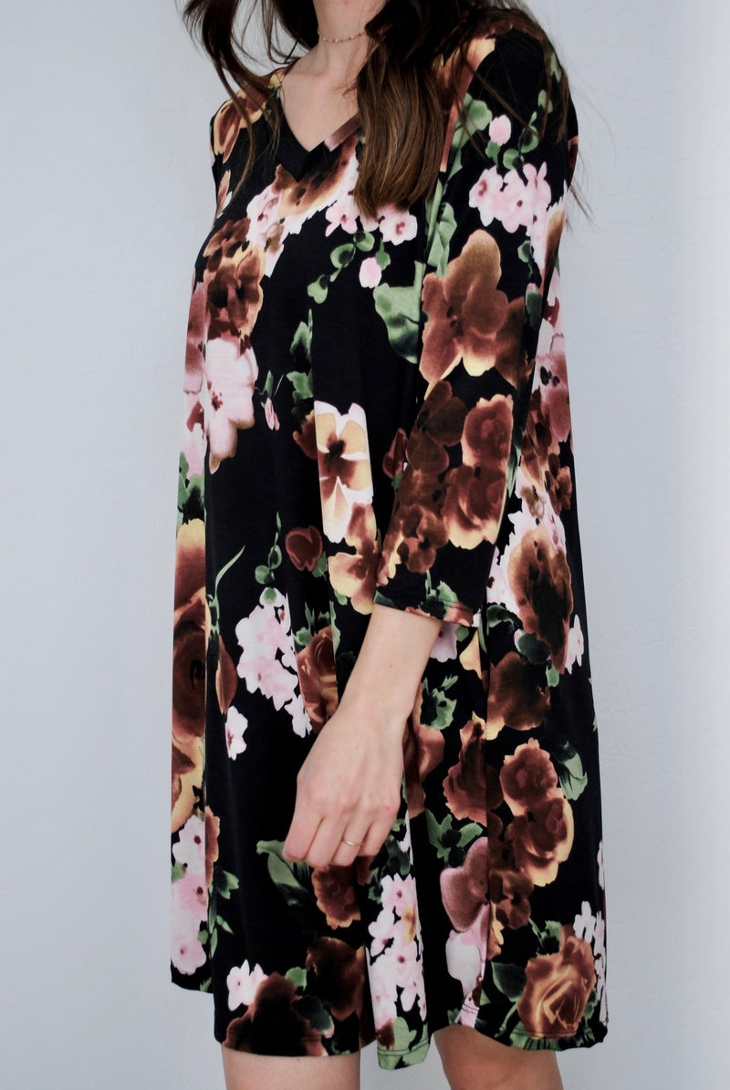 Black and Mocha Floral Dress