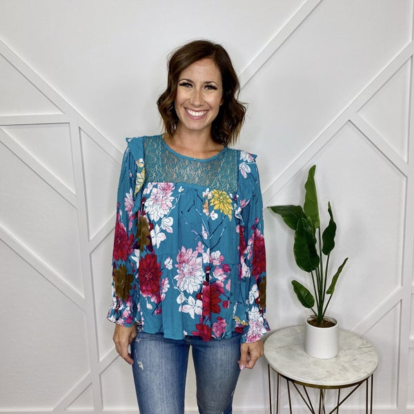 Floral top with Lace Yoke