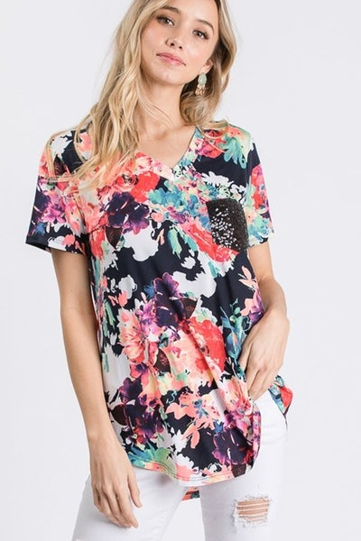 Floral Top w/sequin Pocket