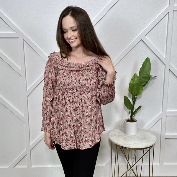 Smocked Floral Long Sleeve Top