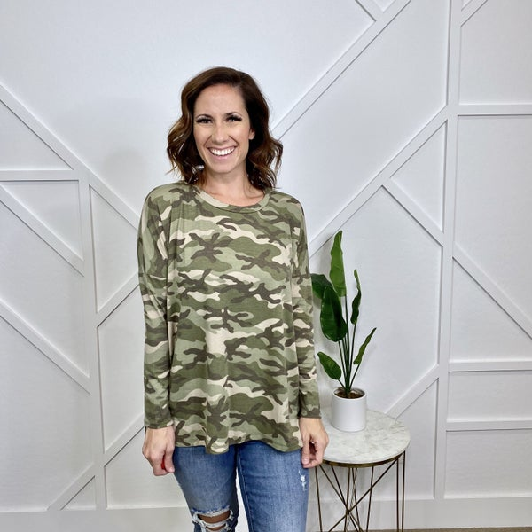 Olive Camo Long Sleeve Top