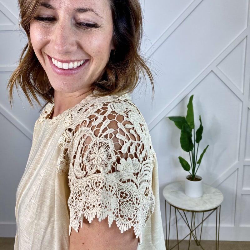 Ivory Crochet Lace Top w/key hole