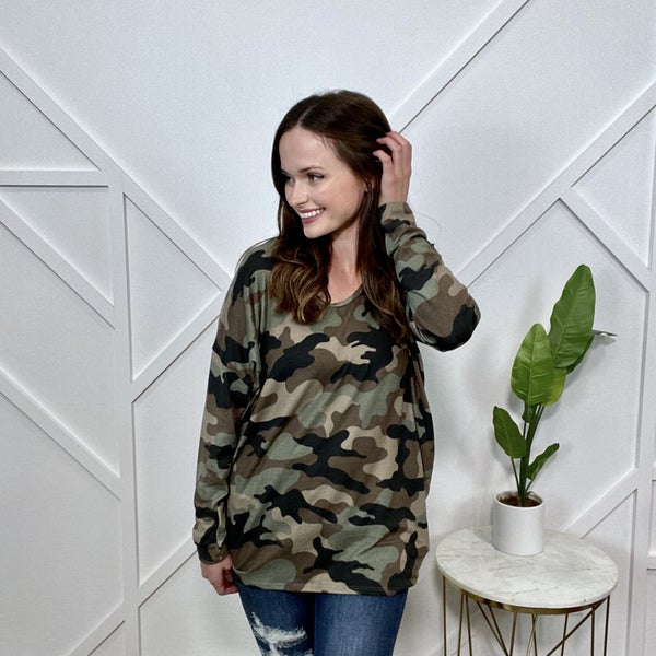 Long Sleeve Camo Dolman Tunic