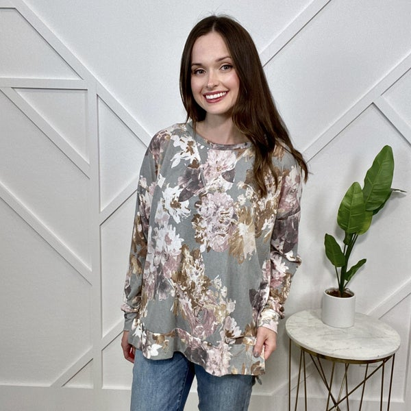 Grey Floral Long Sleeve