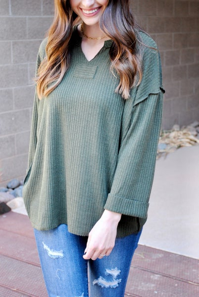 Olive Ribbed Cuffed Sweater