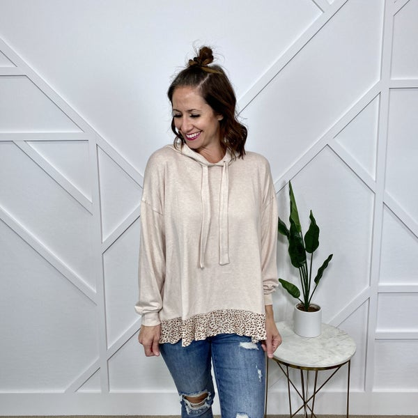 Ivory Sweater Hoodie with Ruffle Detail