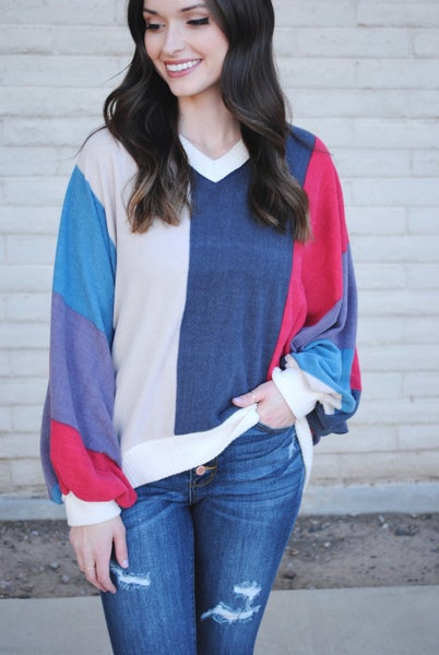 Color Block Long Sleeve V-neck