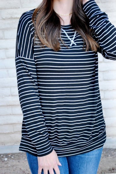 Black Striped Pullover
