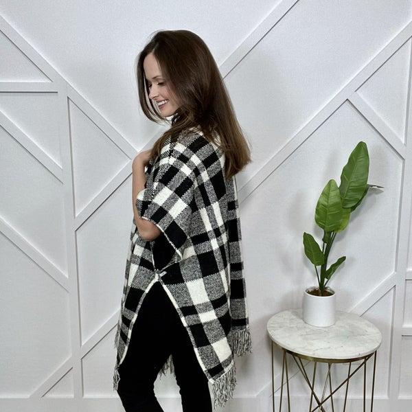 B + W Plaid Sweater Poncho