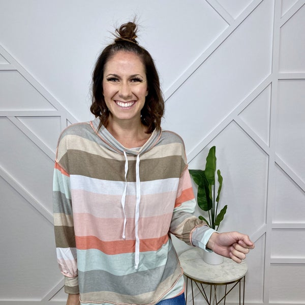 Multi Stripe Boat Neck Long Sleeve