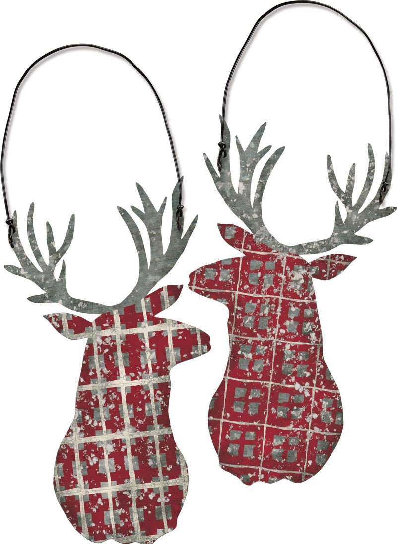 Plaid Deer Ornament