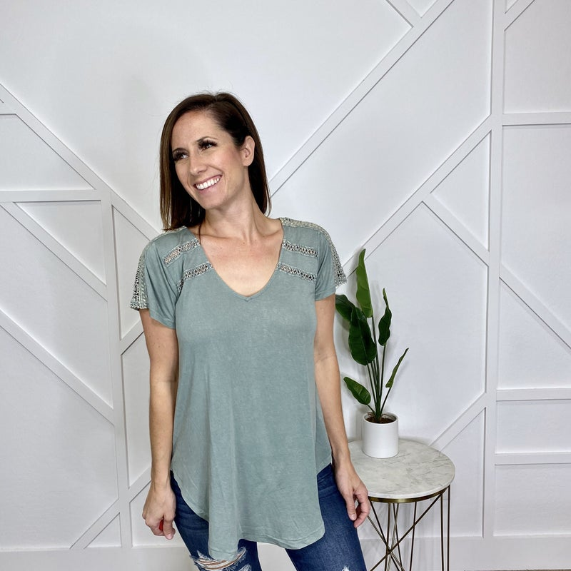 Sage Solid Top with Lace Sleeve Detail