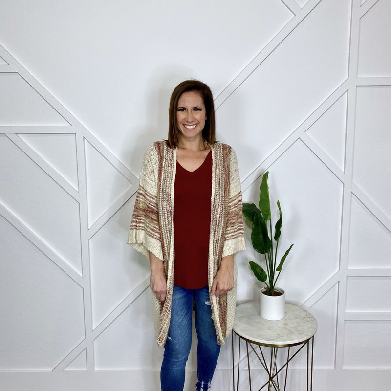 Ivory and Burgundy Knit Cardigan
