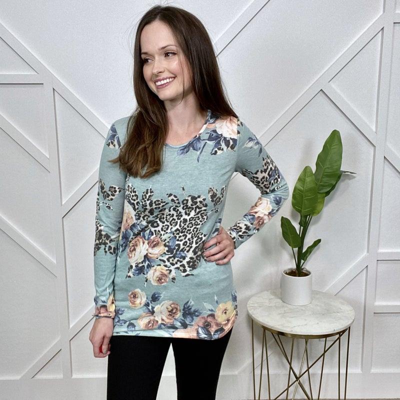 Mint Floral Leopard Long Sleeve