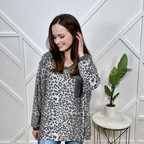 Charcoal Cheetah with Pocket