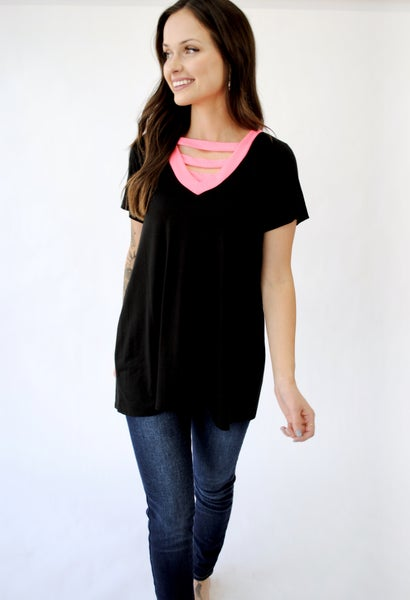 Solid V-neck w/strap detail