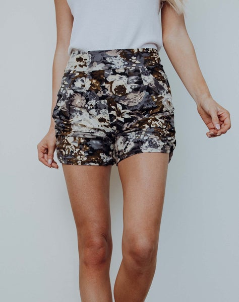 Fall Floral Harem Shorts